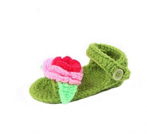 Smile YKK Gestrickte Krabbelschuhe Schuhe flauschige Baby-Unisex Länge 11 cm Flip Flops Violett Sandalen Grün Y