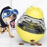 HFJLL Giocattolo di addestramento di Perdita Regolabile della Palla dello spuntino del Cane di Tumbler,Yellow