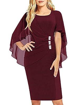 SOLERSUN Womens Chiffon Plus Size Ruffle Flattering Cape Sleeve Business Wear to Work Bodycon Party Pencil Dress