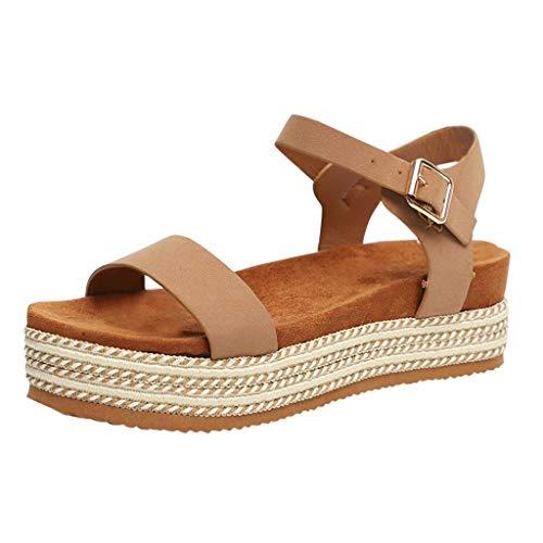 Clacce Schuhe Sandalen Damen Sommerschuhe Beach Shose Bohemian Frauen Dicke Bottomed Sandal Schuhe Schnalle Ankle Strap Sandalen Sommer Strand Schuhe -
