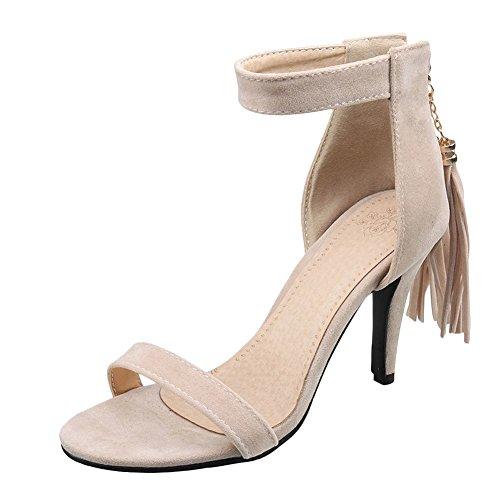 Mee Shoes Damen mit Quaste Nubukleder Reißverschluss Sandalen Aprikose 5b180c4b1f