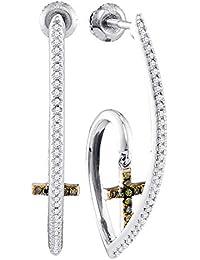 e98bb3f106d0 Jewels by Lux - Pendientes colgantes de oro blanco de 10 quilates para  mujer