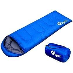 Egoz Fácil de transportar azul caliente Sleeping Bag Deportes al aire libre Camping Caza con bolsa de transporte para adultos