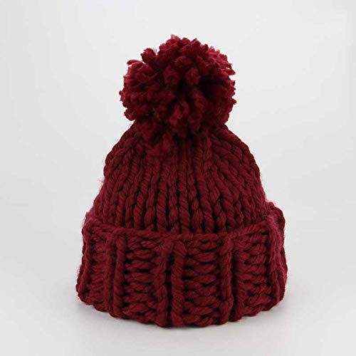 HAOLIEQUAN Wintermützen Winter Woman Warme Hüte Mützen Strickmütze Toucas Bonnet Hats Mann Hut Crochet Cap Skullies Gorros, Wein (Winter Hüte Womens Crochet)