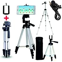 Marklif®Adjustable Aluminium Alloy Tripod Stand Holder for Mobile Phones, 360 mm -1050 mm, 1/4 inch Screw with 3.5mm…