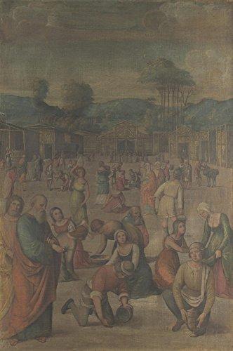 Das Museum Outlet-Lorenzo Costa-Die Geschichte von Moses (der Israeliten sammeln Manna)-Poster Print Online kaufen (101,6x 127cm)