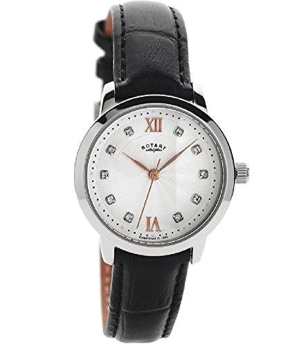 Orologio analogico donna Rotary LS42825/21con set di cristallo quadrante bianco, dettagli oro rosa e cinturino in pelle nero.