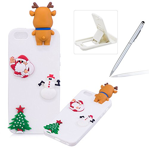 Coque iPhone 5S Silicone, Herzzer Série de Noël Style Design Mignon 3D Étui Housse de Protection pour iPhone SE Soft Doux TPU Gel Backcover Ultra Mince Léger Flexible Téléphone Portable pour iPhone 5 5S SE - Blanc