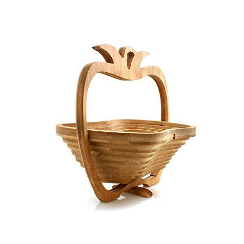 Design61cesto di frutta di bambù cesto pieghevole in legno di bambù frutta ciotola portafrutta cestino
