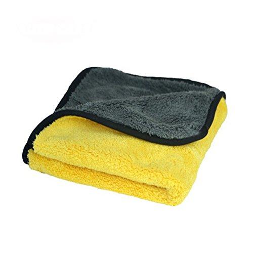 Preisvergleich Produktbild NUOLUX Plüsch Microfaser Auto Reinigung Tücher Wachs Polieren Handtuch - Grau Gelb
