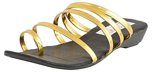 StepIndia MultiStraps Party Wear, Casual Wear Sandal For Women and Girls |Color:Golden|Size:Ind/Uk-9