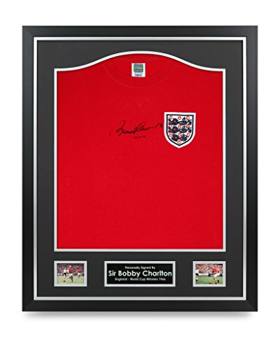 Sir-Bobby-Charlton-Signed-Shirt-Framed-Autograph-England-1966-Jersey-Memorabilia