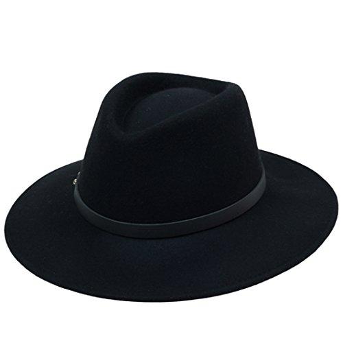 Kapmore Mens Unisex Plain Fühlte Gangster Fedora Hut mit Lederband Gürtel neu (Wolle Krempe Hut Herren Breite)