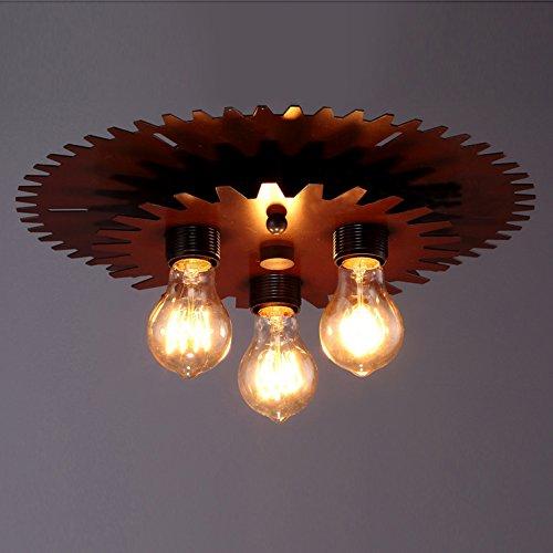 BAYCHEER Industrielampe Deckleuchte Deckenlampe 3 Flammige Lampenfassung Schmiedeeisen Lampe Kronleuchte Pendellampe - 2