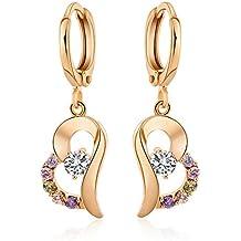 TININNA elegante Cuore Forma lucente Cristallo Strass Orecchini pendenti Orecchini a cerchio per donne Colorful