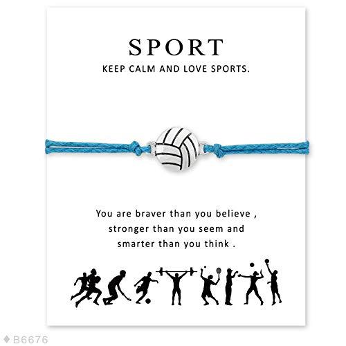 nd Volleyball Baseball Softball Basketball Fussball Eishockey Tennis Sport Charme Karte Armbänder Frauen Männer Schmuck Geschenk,07 ()
