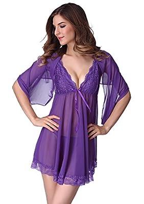 Adorneve Women Lingerie 3 Pieces Chemises Lace Strap Babydoll Mini Sleepwear Set