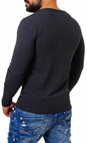 Young&Rich Herren Longsleeve Tiefer V-Ausschnitt Langarm Shirt Einfarbig Slimfit mit Stretchanteilen Uni Basic Deep V-Neck Tee Dunkelgrau