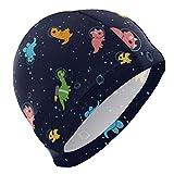 Gebrb Gorro de Baño/Gorro de Natacion, Dinosaurs Outer Space Lycra Swim Cap Swimming for Women Men