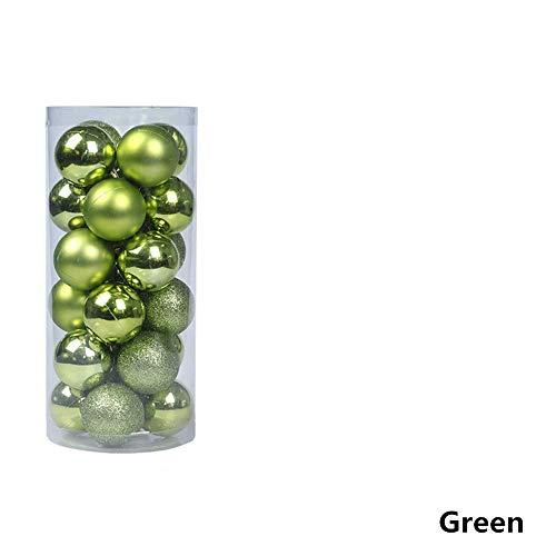 TJW 24 Stück bruchsichere Kunststoff-Kugel-Ornamente Weihnachtsbaumkugeln Anhänger Dekorationsset mit Box, Glitzer/Licht, matt, 3 Verschiedene Polierte, Plastik, grün, 6CM Diameter -