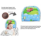 Guru Kripa Baby Products Presents New Born Baby Cotton Soft Fabric Musterd Seeds Rai Pillow For Baby Head Shaping U Shape Takiya Detachable Mustard / Rai Seed Pouch For Easy Washing Feeding & Nursing Baby Neck Pillow (Sky Blue)