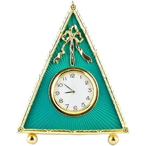 5'verde Triángulo esmaltado Guilloche ruso antiguo estilo de música reloj