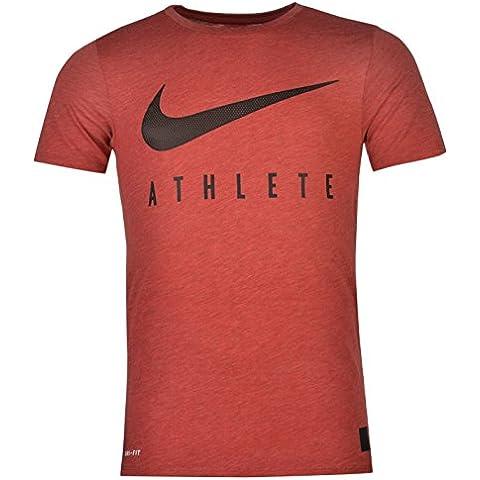 Maglia nike Swoosh Maglietta da uomo maglietta da allenamento, colore: rosso/nero, Red / Black, XXL