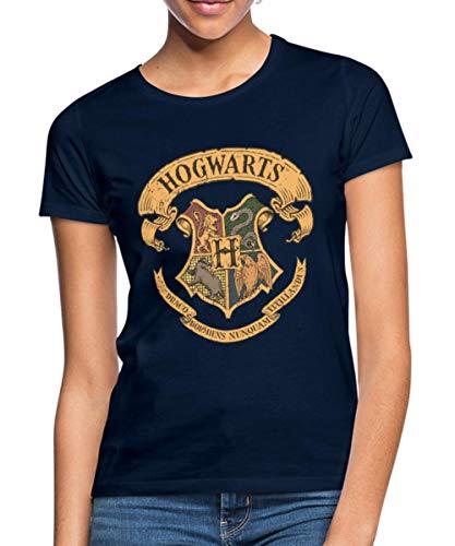 Spreadshirt Harry Potter Hogwarts Wappen Frauen T-Shirt, S (36), Navy