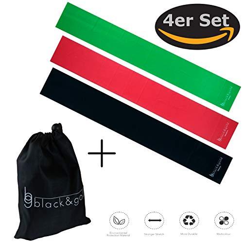black&gold Premium Fitnessbänder 120 x 15 Easy+MEDIUM+Heavy mit Reisetasche. Widerstandsbänder/Therabänder. Ideal für Reha, Physio, und Yoga. Dehnen der Sehnen und Bänder+Steigerung der Beweglichkeit