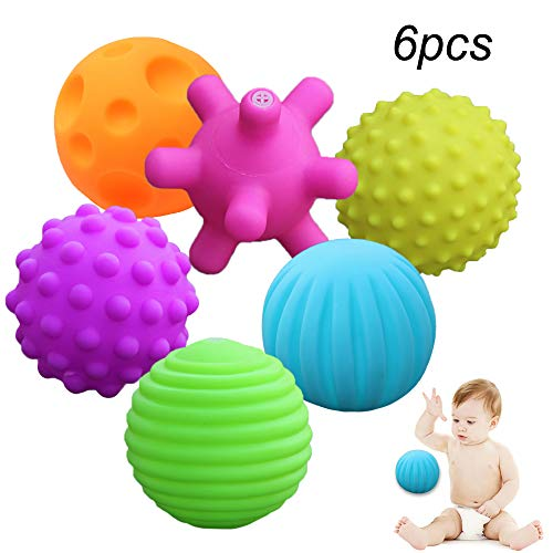 Pro-sanny 6pcs/set Sensory Balls Baby Hand Catch Textured Ball Massage Balls with BB Sound Effect Grasping Educational Toys (Soft)