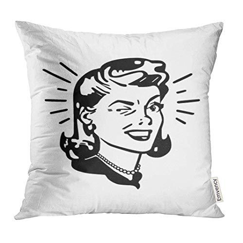 LVOE TTL Dekokissenbezug 1950er Jahre Retro Frau zwinkert Clip Vintage Dekorative Kissenbezug Home Decor Square Inches Kissenbezug - Pl Vintage Stuhl