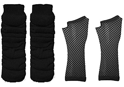 Adults Short & Long Fingerless Fishnet Gloves & Leg Warmer Set Raves Parties 1980s Fancy Dress - Pick & Mix (Leg Warmer & Long Fishnet Gloves - Black)