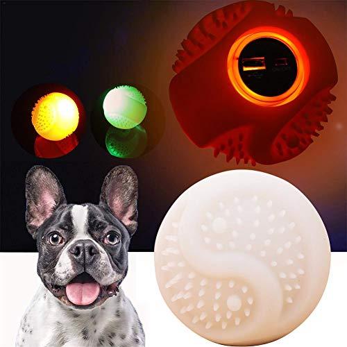 Wasserdichte, bissfeste Bälle,magischer Rollerball mit LED für Hunde- und Katzenspielzeug,Silikon-wiederaufladbares intelligentes interaktives USB-Spielzeugball-Humor-Geschenk für Kitty-Hündchen