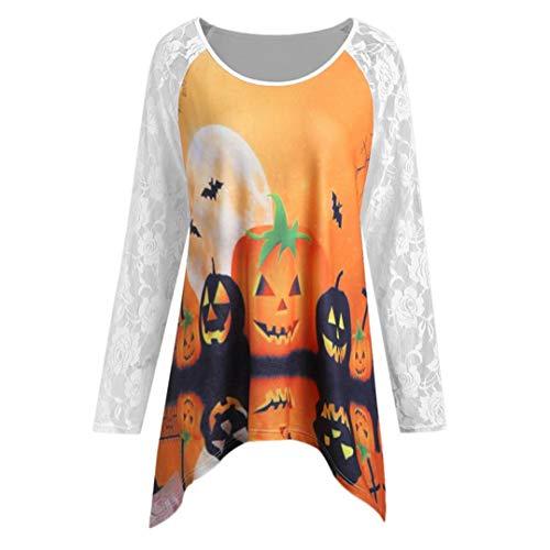 MIRRAY Damen Lose Halloween Kürbis Spitze Patchwork Asymmetrische T-Shirt Tops Bluse Halloween Kostüm
