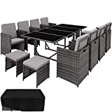 TecTake 403057 Ensemble Salon de Jardin en Résine Tressée Poly Rotin Table Set...