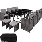 TecTake Conjunto Muebles de Jardín Ratán Sintético Comedor 8+4+1 +...