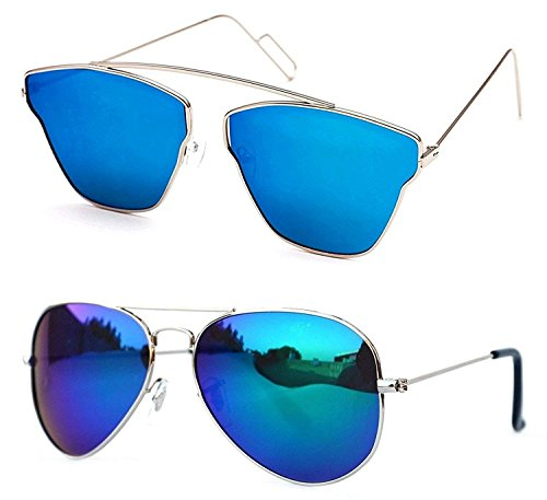 Xforia Polarized Boys Blue Wayfarer & Aviator Sunglasses For For Women & Men PACK OF 2 (PL-FLX-41 | 54 MM | Discounted)