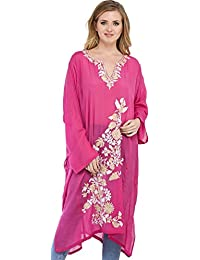 Exotic India Wild-Orchid Kashmiri Sheer Phiran With Ari Floral-Embroidery - Pink
