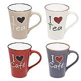 esto24 4er Set Kaffee-Tassen aus Keramik Kaffee-Becher a 300ml mit Herz - Das Highlight auf Jedem Tisch.