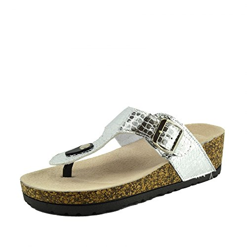 Kick Footwear - Damen Womens Slip On Gepolsterte Fußbett Kork Flip-Flops Metallische Pantoletten Sandalen - UK 5 / EU 38, Silber, Fashion Low Heel Slide Slippers (Heels Kork)