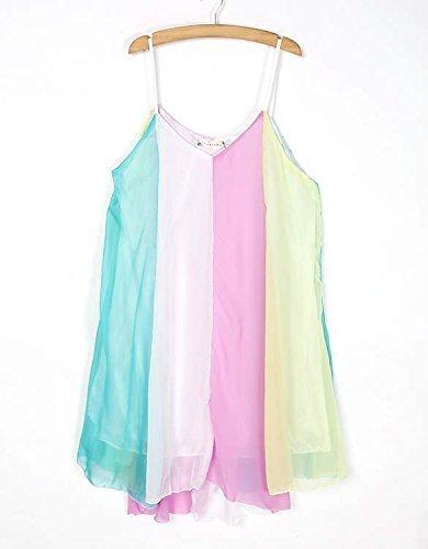 Minetom Femme Été Mince Mini Skirt Robe Arc-coloré Robe d'été à la Plage Cocktail Mini Robe de Soirée One Color