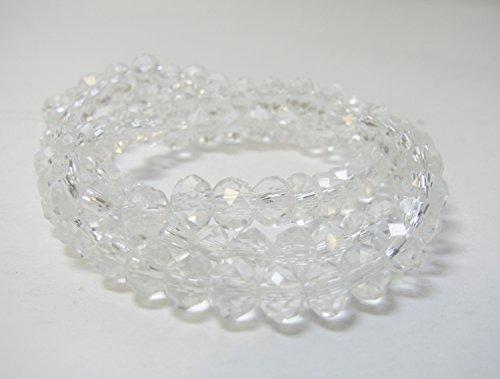 100 Rondelle farblos klar 6 mm, Glasperlen facettiert, Perlen, Glasschliffperlen