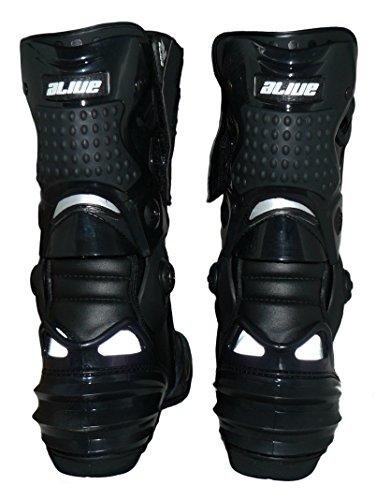 Protectwear TS-006-43 Motorradstiefel Racing aliue, Wasserabweisend aus schwarzem Leder mit aufgesetzten Hartschalenprotektoren, Größe 43, Schwarz - 2
