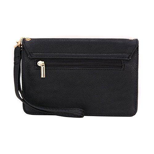 Conze da donna portafoglio tutto borsa con spallacci per Smart Phone per Gigabyte Gsmart T4(Lite Edition) Grigio grigio nero