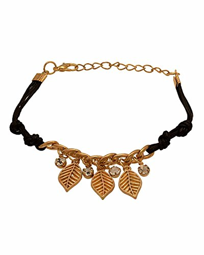 Voylla Gold Toned Leafy Design Black Band Bracelet  available at amazon for Rs.202