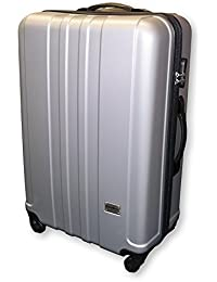f543a389daf0 Medium Super Lightweight Silver ABS Plastic Suitcases Travel Luggage Cases  Trolley