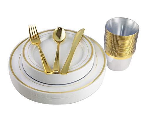 Juego de 150 platos desechables de color dorado, tazas y cubiertos de plástico para fiestas, cenas, bodas y Navidad (oro rosa) dorado