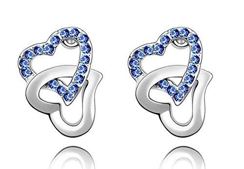(Wonvin 925 Sterling Silber Silber Herz Ohrstecker mit Swarovski Elements Kristall Ohrringe für Frauen)