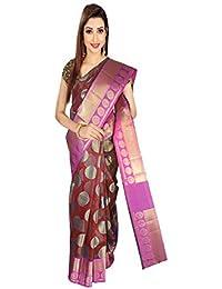 15838d0d2d VFCollections - Banarasi Cotton Silk Pattu Saree - Chakra Border With Blouse  Piece For Women