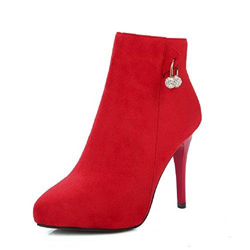 Stiefel Eingelegt Reißverschluss Hoher Rot Odomolor Damen spitze Absatz Mattglasbirne Niedrig xwH8pq8
